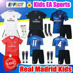 sports shoes 56c5c c41bd 2019 Real Madrid Ea Sports Kids Kit Soccer Jerseys 2018/19 Home White Away  3RD 4TH Boy Child Youth Modric ISCO BALE KROOS Football Shirts effectsports  ...