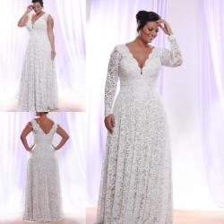 2018 Plus Size Formal Dresses Long Sleeves V Neck Lace Applique Prom Gowns  Floor Length Vintage Best Selling Bridal Dress manweisi 373945520